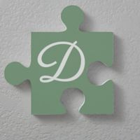 Family Initial 12-Inch Square Puzzle Piece Wall Décor