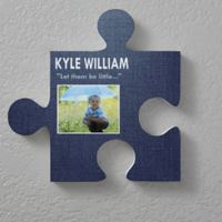 Name & Photo 12-Inch Square Puzzle Piece Wall Décor
