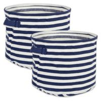 Design Imports Collapsible Fabric Striped Large Round Storage Bins in Grey (Set of 2)