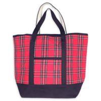 Large Plaid Tote Bag in Red/Black