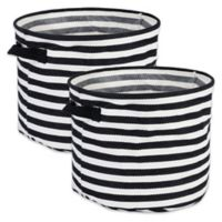 Design Imports Collapsible Round Fabric Striped Storage Bins in Black (Set of 2)