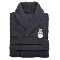 Herringbone Snowman Size Small/Medium Bathrobe in Grey