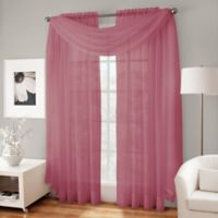 Crushed Voile Platinum 18-Foot Sheer Scarf Valance in Amethyst