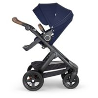 Stokke® Trailz™ Black Frame Stroller with Brown Handle in Deep Blue