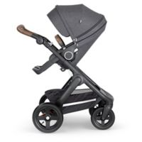 Stokke® Trailz™ Black Frame Stroller with Brown Handle in Black Melange