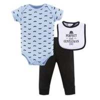 Hudson Baby® 3-6M Little Gentleman Bodysuit, Pants, and Bib Set in Blue