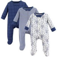 Touched by Nature 0-3M 3-Pack Elephant Organic Long Sleeve Bodysuits