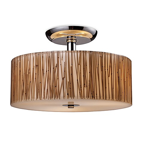 ELK Lighting Modern Organics 3-Light Semi-Flush Fixture in Polished ...