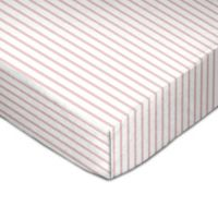 Living Textiles Stripe Fitted Crib Sheet in Pink