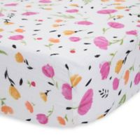 Little Unicorn Cotton Muslin Fitted Sheet in Berry and Bloom