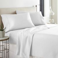 Pointehaven Printed 300-Thread-Count Deep-Pocket Twin XL Sheet Set in White