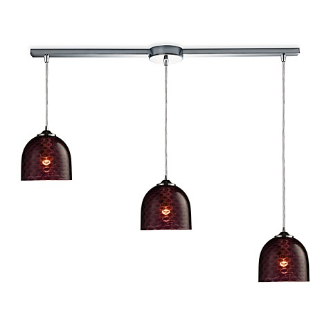 ELK Lighting Viva 3-Light Linear Pendant Ceiling Lamp in Polished Chrome/Ruby