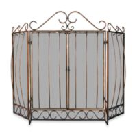 UniFlame® 3-Fold Venetian Fireplace Screen with Bowed Bar Scrollwork in Bronze Finish