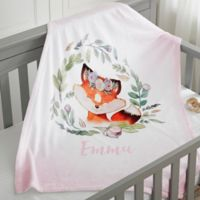Woodland Floral Fox Fleece Baby Blanket