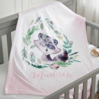 Woodland Floral Raccoon Fleece Baby Blanket