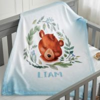 Woodland Bear Fleece Baby Blanket