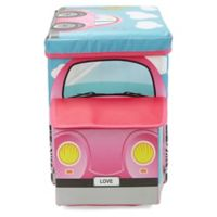 Mind Reader Pink Buggy Car Kid's Stool/Chair Toy Box