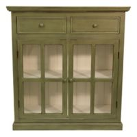 Décor Therapy Layla Glass Door Accent Cabinet in Green