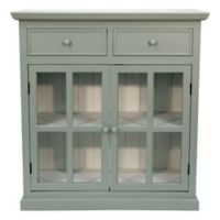 Décor Therapy Layla Glass Door Accent Cabinet in Blue