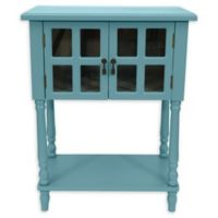 Décor Therapy Nora Glass Door Accent Table in Baby Blue