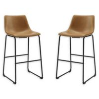 "Forest Gate™ Metal Upholstered Faux Leather 40"" Bar Stools in Whiskey (Set of 2)"