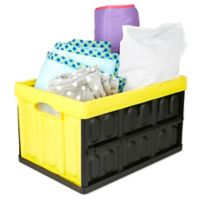Mind Reader Medium Collapsible Storage Bin in Black/Yellow