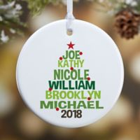 Christmas Family Tree 1-Sided Glossy Christmas Ornament