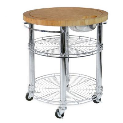 seville classics stainless steel round kitchen island cart with bamboo butcher block - Butcher Block Kitchen Cart