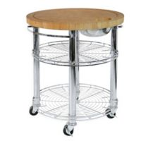 Seville Classics Stainless Steel Round Kitchen Island Cart with Bamboo Butcher Block