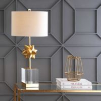 """JONATHAN Y Estelle 32"""" LED Metal Table Lamp in Clear/Gold Leaf"""