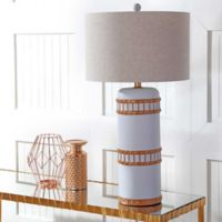 """JONATHAN Y Fraser 31"""" Resin LED Table Lamp in Grey/Gold"""
