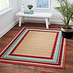 Miami Border Stripe 8-Foot x 10-Foot Indoor/Outdoor Area Rug in Beige Multi