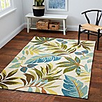 Blue Grass 1'8 x 2'6 Indoor/Outdoor Accent Rug in Ivory/Multi