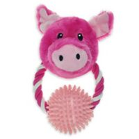 Bounce & Pounce Pig Door Knocker Dog Toy in Pink