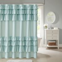 Madison Park Grace Ruffled Shower Curtain In Blue
