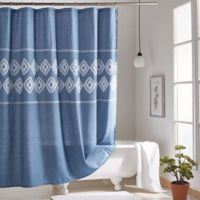 Chambray Geometric Shower Curtain in Blue