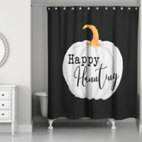 "Designs Direct ""Happy Haunting"" Shower Curtain in Black"