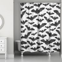 Designs Direct Watercolor Bats Shower Curtain in Black