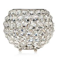 Godinger 8-Inch Glam Crystal Ball Tea Light Candle Holder in Silver