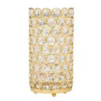 Godinger 8.75-Inch Glam Crystal Cylinder Tea Light Candle Holder in Gold