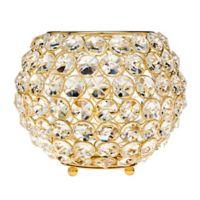 Godinger 7.5-Inch Glam Crystal Ball Tea Light Candle Holder in Gold