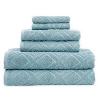 Gemstone Jacquard 6-Piece Towel Set in Aquamarine