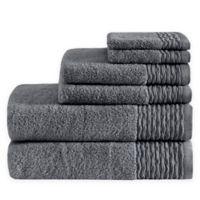 Madison Park Breeze 6-Piece Jacquard Bath Towel Set in Charcoal