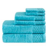 Madison Park Breeze 6-Piece Jacquard Bath Towel Set in Blue