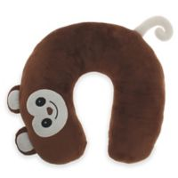 Capelli New York Embroidered Monkey Travel Neck Pillow in Brown
