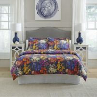 Pointehaven Marseille King Duvet Cover Set in Purple/Orange