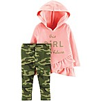 carter's® Newborn 2-Piece Ruffled Hoodie and Pant Set in Light Pink