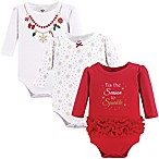 Size 0-3M 3-Pack Christmas Long Sleeve Bodysuits in Red