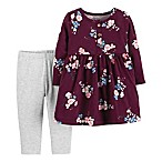 carter's® Size 3M 2-Piece Floral Dress and Legging Set in Burgundy