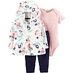 carter's® 3-Piece Floral Cardigan, Bodysuit, Pant Set